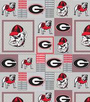 """University of Georgia Bulldogs Fleece Fabric 60""""-Gray Block, , hi-res"""