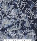 Denim Embroidered Tie Dye Cotton Fabric-Dark Wash