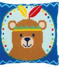 Vervaco 16\u0027\u0027x16\u0027\u0027 Cushion Cross Stitch Kit-Bear with Feather Headdress