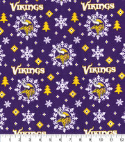 Minnesota Vikings Christmas Flannel Fabric-Holiday, , hi-res