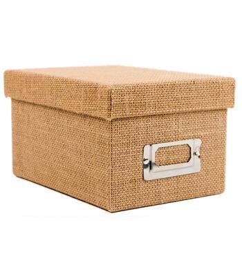 Mini Photo Storage Box-Natural Burlap