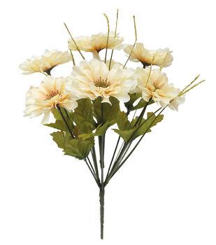 Blooming Autumn 13'' Beige Zinnia & Onion Grass Bush