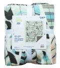 No-Sew Throw Fleece Fabric 48\u0022-Feather & Geo Cream