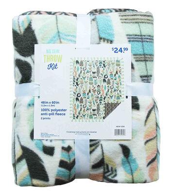 "No-Sew Throw Fleece Fabric 48""-Feather & Geo Cream"