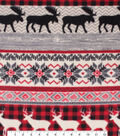 Anti-Pill Plush Fleece Fabric-Aspen Red Checks, Animals & Fair Isle