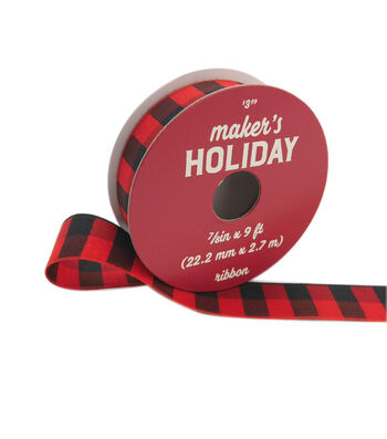 "Maker's Holiday Buffalo Check Ribbon 7/8""x9'-Red Black Check"