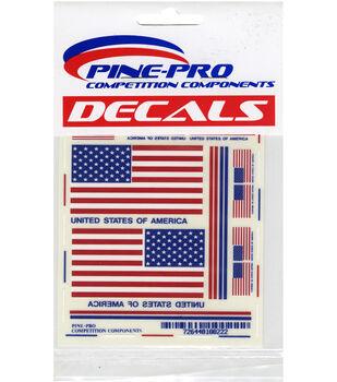 """Pine Car Derby Decal 4""""X5""""-USA Flags"""