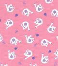 1930\u0027s Premium Cotton Print Fabric 43\u0027\u0027-Watering Can on Pink