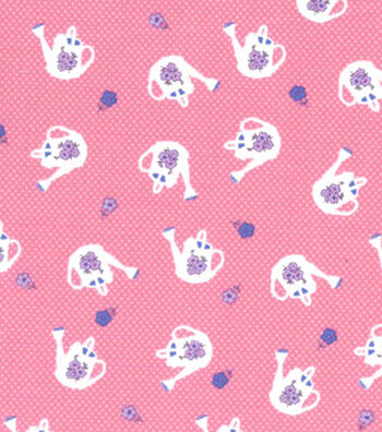 1930's Premium Cotton Print Fabric 43''-Watering Can on Pink