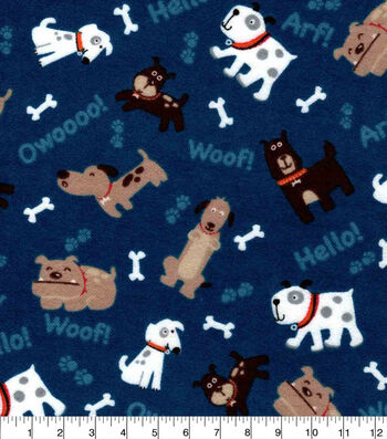 Snuggle Flannel Fabric-Tossed Pups On Blue
