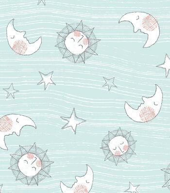 """Nursery Flannel Fabric 43""""-Whimsy Mint Sun Moon"""