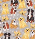 Anti-Pill Plush Fleece Fabric-Painted Dogs on Gray