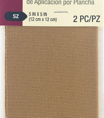 Dritz 2 pk 5''x5'' Heavy Canvas Iron-On Patches-Golden Brown