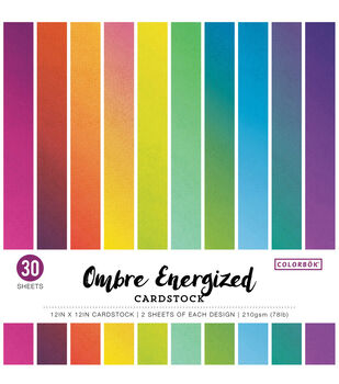"""Colorbok Single-Sided Cardstock 12""""X12""""-Ombre Energized, 15 Colors"""