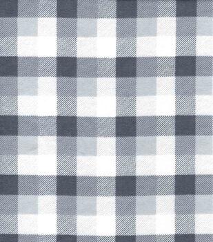 Snuggle Flannel Fabric-Gray & White Tri Buffalo Checks