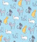 Novelty Cotton Fabric -Kitties On Blue