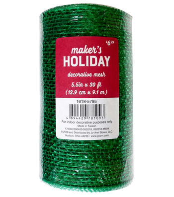 Maker's Holiday Metallic Decorative Mesh Ribbon 5.5''x30'-Green