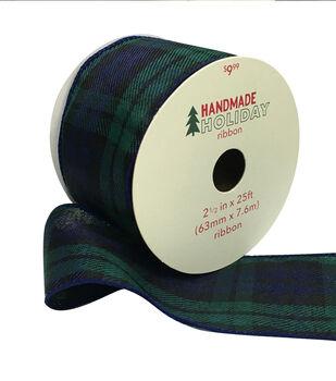 Handmade Holiday Christmas Ribbon 2.5''x25'-Blackwatch Plaid