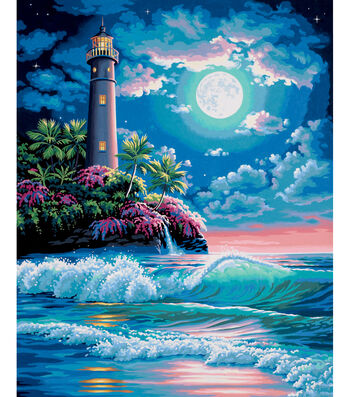 """Dimensions Paint By Number Kit 16""""X20""""-Lighthouse In The Moonlight"""