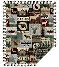 Fleece No Sew Throw 72\u0022-Cabin Patchwork