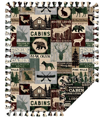"Fleece No Sew Throw 72""-Cabin Patchwork"