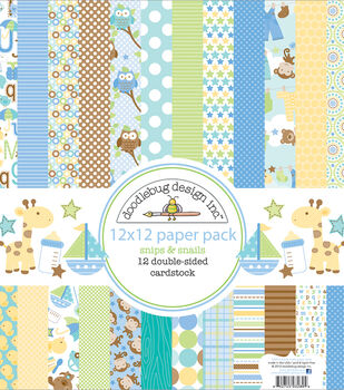 "Doodlebug Double-Sided Paper Pack 12""X12""-Snips & Snails"