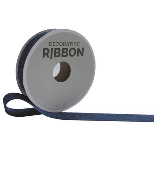Decorative Ribbon 5/8''x12' Narrow Burlap Ribbon-Navy