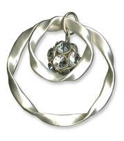 Blue Moon Beads Pendant Twisted Rings Rhinestones Matte Silver, , hi-res