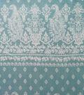 Luxe Fleece Fabric-Blue White Damask