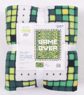 "Fleece No Sew Throw 48""-Game Over"