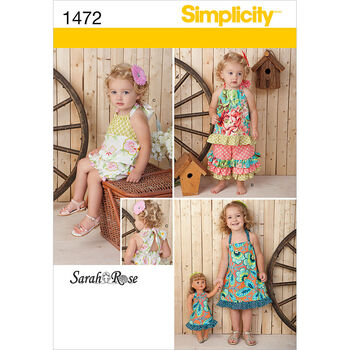 Simplicity Pattern 1472A 1/2-1-2-3--Toddlers Dresses