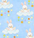 Snuggle Flannel Fabric 42\u0027\u0027-Bunnies on Floppy Clouds