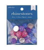 hildie & jo 24 pk Round Flat Back Rhinestones-Pink, Purple & Blue, , hi-res