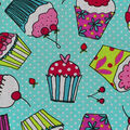 Novelty Cotton Fabric -Cupcake on Dots