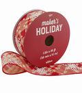 Maker\u0027s Holiday Ribbon 1.5\u0027\u0027x30\u0027-White Snowflakes on Red