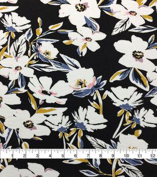 Knit Prints Rayon Spandex Fabric-Black Yellow Floral