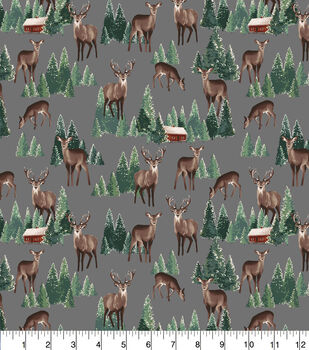 Super Snuggle Flannel Fabric-Realistc Deer and Trees