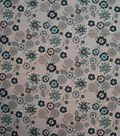 Quilter\u0027s Showcase Cotton Fabric-Begie & Blue Floral Medallion on Gray