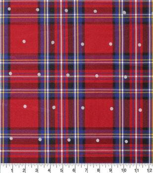 Sew Sweet Large Taffeta Fabric-Tartan Plaid Dot Flocking