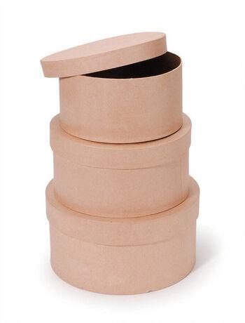 Darice 3 pk Round Paper Mache Boxes