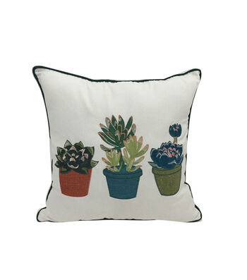 Hello Spring Embroidered Pillow-Succulent