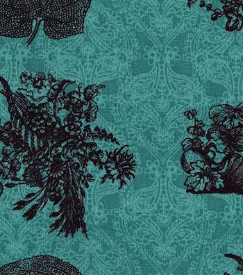 "Harvest Cotton Fabric 43""-Leaves on Damask"