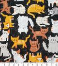 Novelty Cotton Fabric-Orange Cats on Black