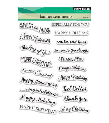 Penny Black 19 pk Clear Stamps-Banner Sentiments