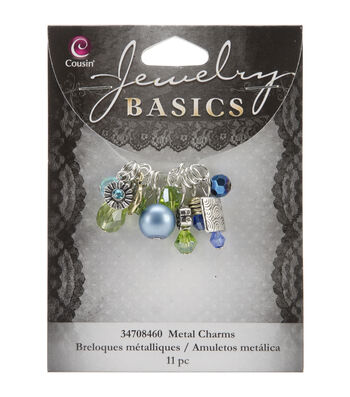 Jewelry Basics Metal Charms-Aqua Glass/Metal Bead Cluster 11/Pkg