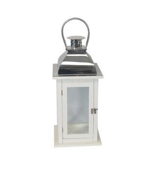 Hudson 43 17.5'' Wood Lantern-White & Silver