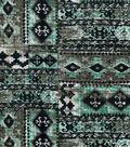 Modern Cotton Fabric 43\u0027\u0027-Green Aztec Patch