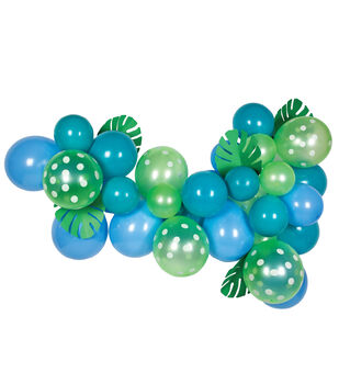 Balloon Garland Kit-Blue and Green Foilage