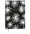 Park Lane 6.25\u0027\u0027x8\u0027\u0027 Journal-Notebook & White Floral on Black