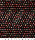 Novelty Cotton Fabric 43\u0027\u0027-Tie Dye Paw Prints on Black